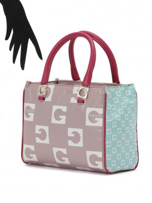 ペールピンク 切替 ハンドバッグを見る