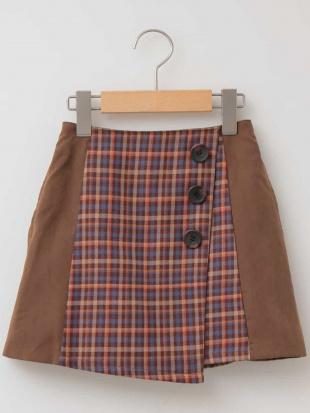 ブラウン [140-150]チェックキリカエ台形スカート a.v.v bout de chouを見る