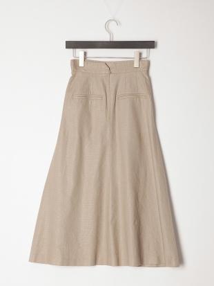 55:ベージュ リネンオックスフレアースカートを見る
