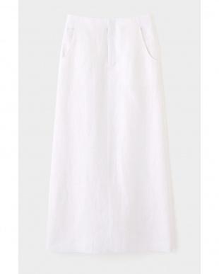 ホワイト 麻ツイルスカート ELE STOLYOFを見る