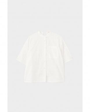 ホワイト サテンチェックバックリボンシャツ FLOMLを見る