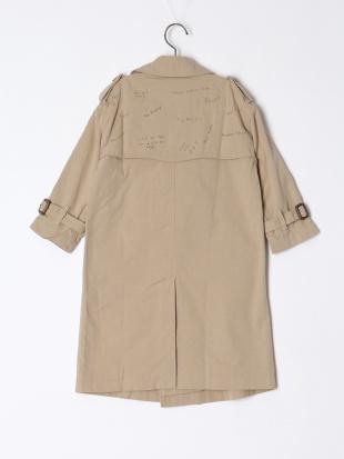 ベージュ リバーシブル ラクガキ スター トレンチ コートを見る