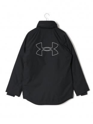 ブラック BLK UA HALF COAT 中綿入 ロゴ フーデッド 比翼 ハーフコートを見る