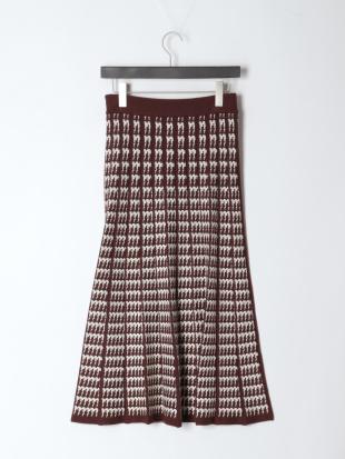 ブラウン 12G幾何柄ジャカードニットスカートを見る