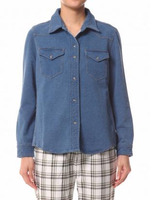 65/青系F(ブルー) AN 大人ニットデニムシャツを見る