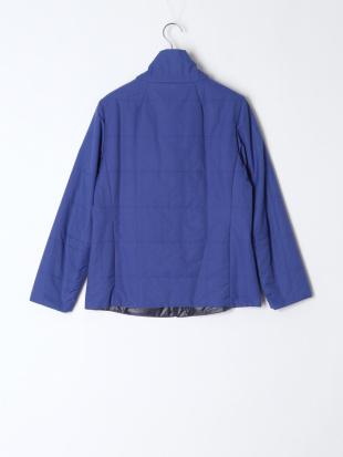 ブルー 中綿入り立ち衿ブルゾンを見る