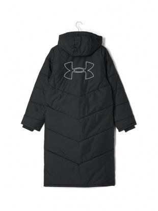 ブラック BLK UA BIG LOGO LONG COAT 中綿入 ロゴ フーデッド ロングコートを見る