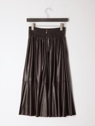 ブラウン シンセティックレザースカートを見る