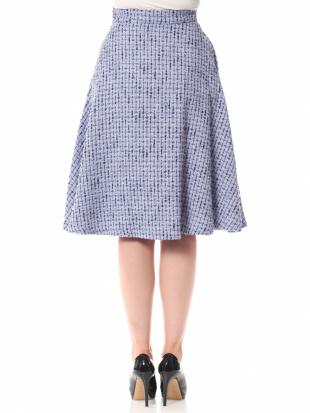 サックスブルー ラッフルツイードフレアスカートを見る