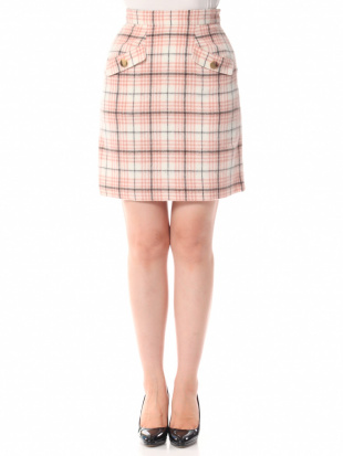 オフホワイト シャギーチェック台形スカートを見る