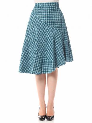 グリーン アシンメトリーツイードフレアスカートを見る