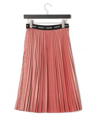 ピンク ロゴウエスト プリーツスカートを見る