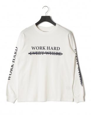 ホワイト ワーク プリント 長袖Tシャツを見る