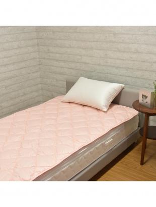 ピンク 英国産ハンプシャー種 洗える羊毛ベッドパッド セミダブル ピンクを見る