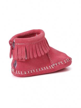 ピンク Kid's BACK FLAP BOOTIE レザー フリンジ バックベルクロ ブーツを見る