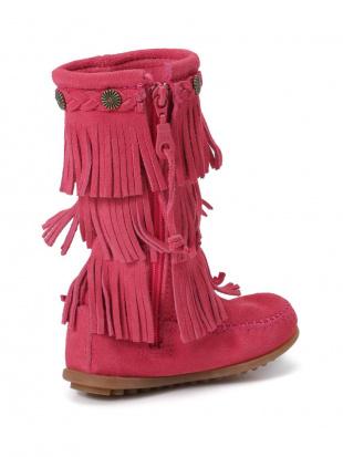 ピンク Kid's 3-LAYER FRING BOOT レザー フリンジ サイドジップ ブーツを見る