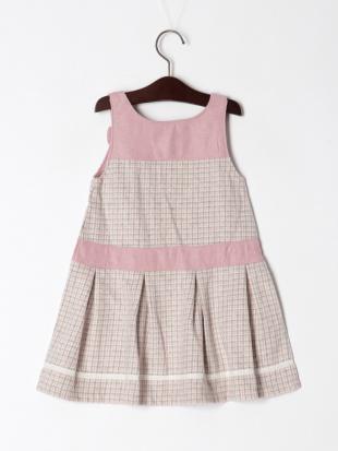 ピンク ウィンターチェックジャンパースカートを見る