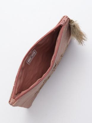 ベロア刺繍ポーチ ブルーグレー&ベロア刺繍ポーチ ピンクブラウンを見る