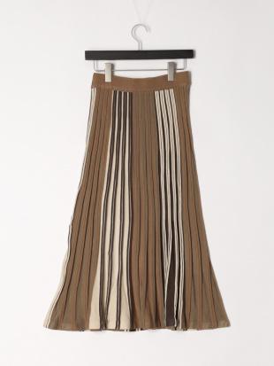 カーキ 二重臼編みニットスカートを見る