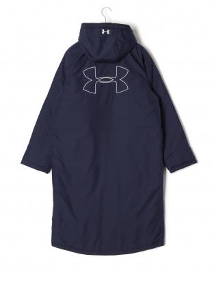 ネイビー UA BIG LOGO LONG COAT X SMU 中綿入 フーデッド ロングコートを見る
