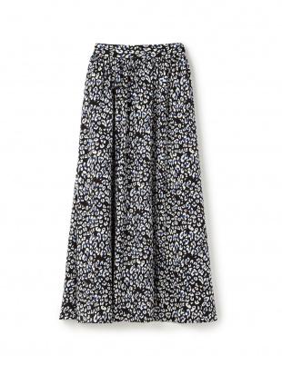 ベージュ レオパードプリントギャザースカートを見る