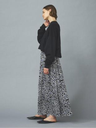 ブラック レオパードプリントギャザースカートを見る