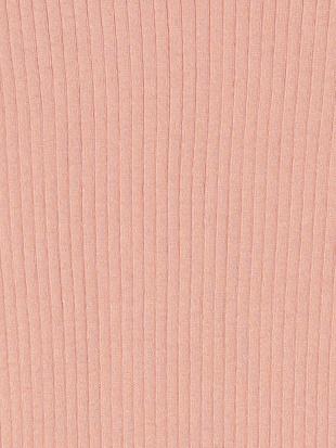 ピンク クルーネック 半袖 リブニットトップを見る