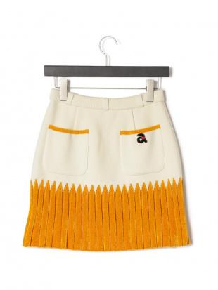ホワイト 配色 ポケット ニットスカートを見る
