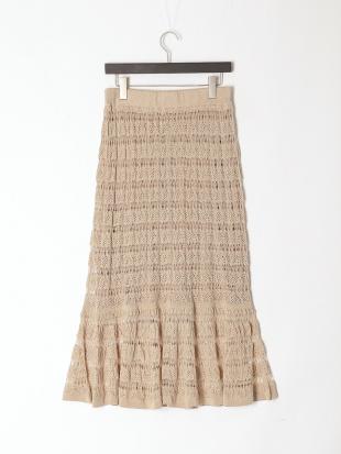 ベージュ 《Maglie WHITE》ニットティアードスカートを見る