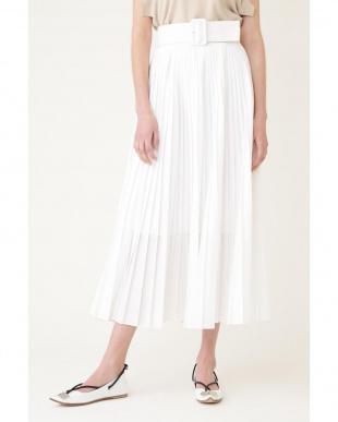 ホワイト 《LE PHIL》タイプライターベルト付きプリーツスカート le PHILを見る