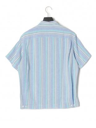ブルー EDITIONS MR WILLY ストライプ 半袖シャツを見る