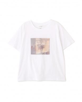 ホワイト マーブルフラワープリントTシャツ Jill by Jill リプロを見る